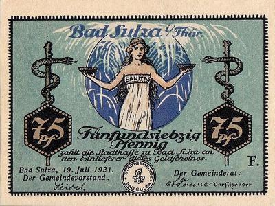 75 пфеннигов 1921 Германия. Курорт Бад Зульца (Тюрингия) . Нотгельд.