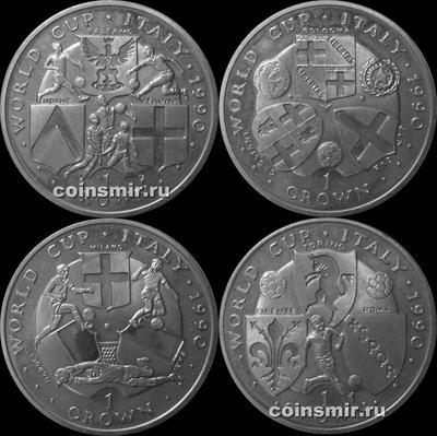 Набор из 4 монет 1990 остров Мэн. Чемпионат мира по футболу в Италии.