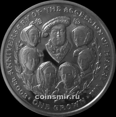 1 крона 2009 остров Мэн. 500-летие вступления на престол Генриха VIII.