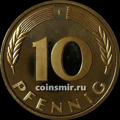10 пфеннигов 1990 F Германия (ФРГ).  Пруф.