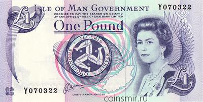 1 фунт 1991 остров Мэн.