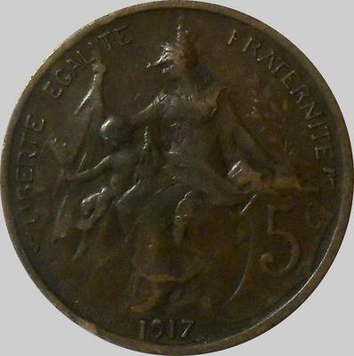 5 сантимов 1917 Франция. (в наличии 1916 год)