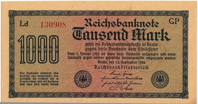 1000 марок 1922 Германия. Состояние на фото. (3)