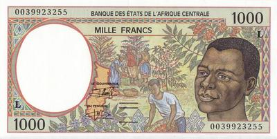 1000 франков 1993-2000 L КФА BEAC (Центральная Африка).