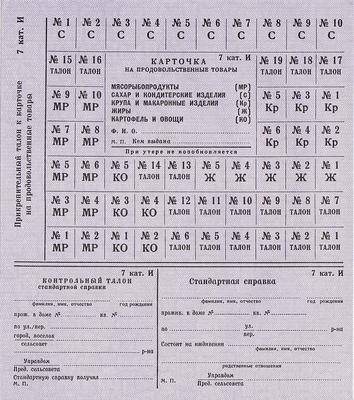 Карточка на продовольственные товары 7 категория И(иждивенцы).