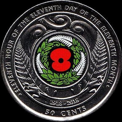 50 центов 2018 Новая Зеландия. День перемирия.