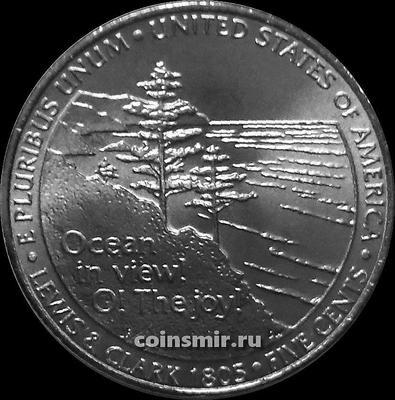 5 центов 2005 D США. Выход к океану. 200 лет экспедиции Льюиса и Кларка.