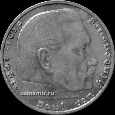 2 марки 1937 G Германия. Гинденбург. Третий Рейх.