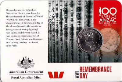 20 центов 2015 Австралия. АНЗАК - Первая Мировая Война 1914-1918. День памяти. Открытка.