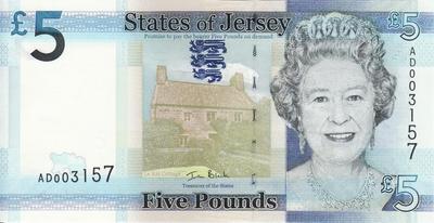 5 фунтов 2010 Джерси.
