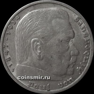 5 марок 1938 J Германия. Гинденбург.