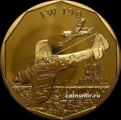 10 долларов 1991 Маршалловы острова. Немецкий истребитель Фокке-Вульф FW-190.