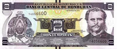2 лемпира 2012 Гондурас.