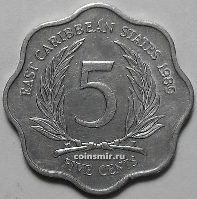 5 центов 1989 Восточные Карибы.