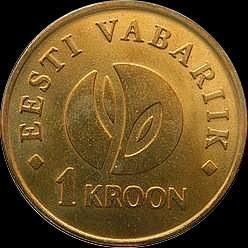 1 крона 2008 Эстония. 90 лет Эстонской республике.