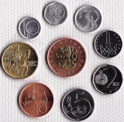 Набор из 9 монет 1993-2003 Чехия.