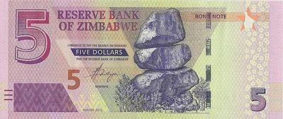 5 долларов 2016 Зимбабве.