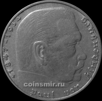 2 марки 1937 J Германия. Гинденбург. Третий Рейх.