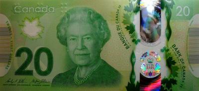 20 долларов 2015 Канада. Длительность правления королевы Елизаветы II .