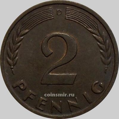 2 пфеннига 1962 D Германия (ФРГ).
