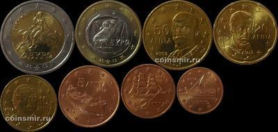 Набор евро монет 2002 Греция.