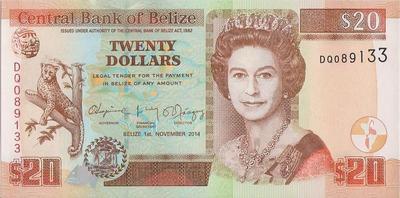 20 долларов 2014 Белиз.