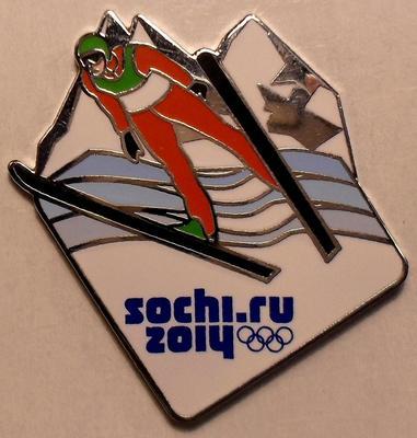 Значок Прыжки на лыжах с трамплина. Олимпиада в Сочи 2014. Белый.