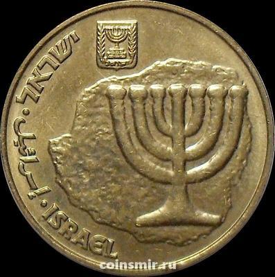 10 агор 2013 Израиль. Менора-золотой семирожковый светильник.