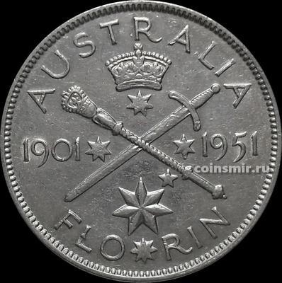 Флорин 1951 Австралия. 50 лет Федерации.