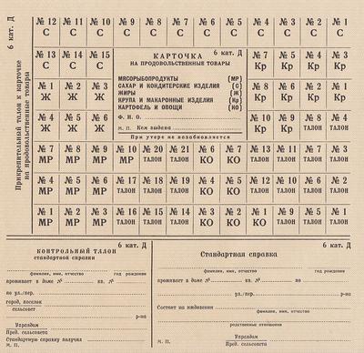 Карточка на продовольственные товары 6 категория Д(дети).