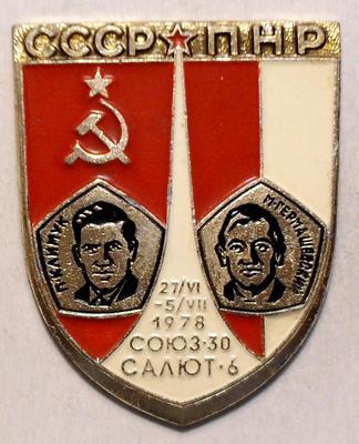 Значок СССР-ПНР 1978. Союз-30. Салют-6. П.Климук - М.Гермашевский.