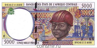 5000 франков 1999 F КФА BEAC (Центральная Африка).