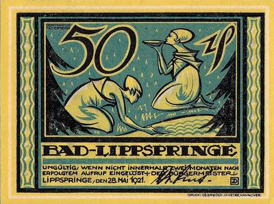 50 пфеннигов 1921 Германия. г.Бад-Липшпринге. Нотгельд.
