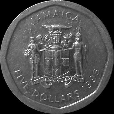 5 долларов 1995 Ямайка.
