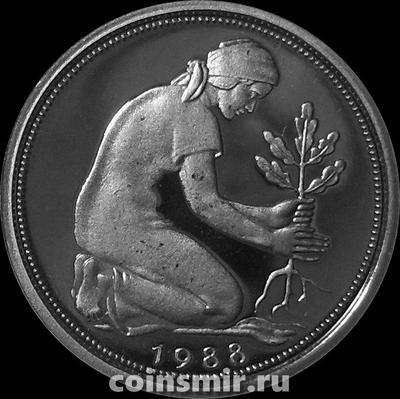 50 пфеннигов 1988 F ФРГ. Пруф.