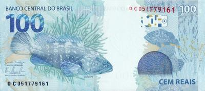 100 реалов 2010 Бразилия.