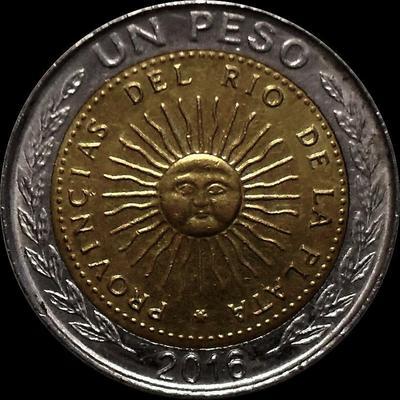 1 песо 2016 Аргентина.