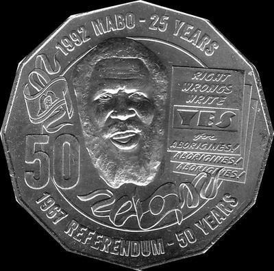 50 центов 2017 Австралия. 50 лет референдуму и 25 лет земельного постановления по Мабо.