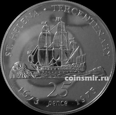 25 пенсов 1973 остров Святой Елены. Трёхсотлетие.