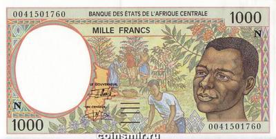 1000 франков 1993-2000 N КФА BEAC (Центральная Африка).