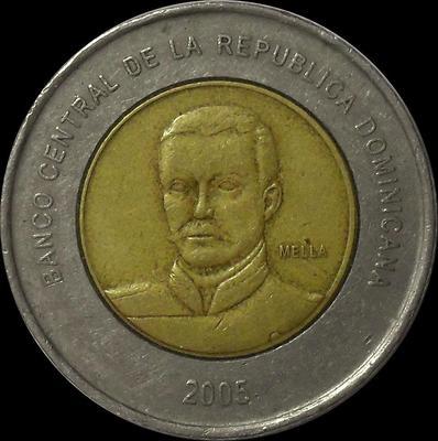 10 песо 2005 Доминиканская республика.