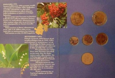 Набор из 5 монет и жетона 1994 Финляндия.