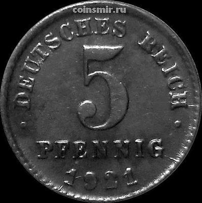 5 пфеннигов 1921 D Германия.