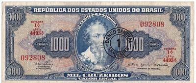 1 крузейро на 1000 крузейро 1966-1967 Бразилия.