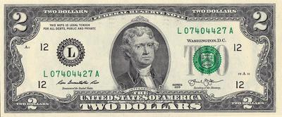 2 доллара 2013 L США.
