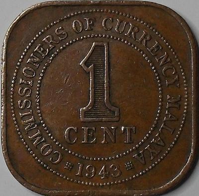 1 цент 1943 Малайя.