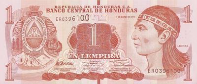 1 лемпир 2012 Гондурас.