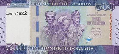 500 долларов 2016 Либерия.