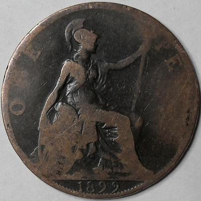 1 пенни 1899 Великобритания.