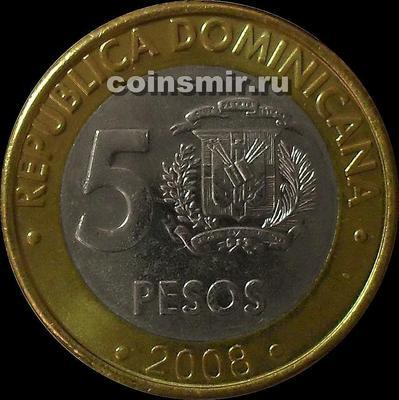 5 песо 2008 Доминиканская республика.